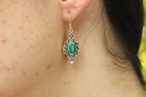 [Sterling silver turquoise gemstone earrings gypsy bohemian style jewelry or jewellery]- The Namaste Boutique
