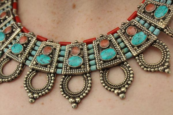 [Handmade bohemian style coral and turquoise necklace gypsy bohemian style jewelry or jewellery]- The Namaste Boutique