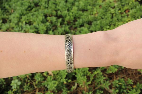 [Thin filigree adjustable cuff gypsy bohemian style jewelry or jewellery]- The Namaste Boutique