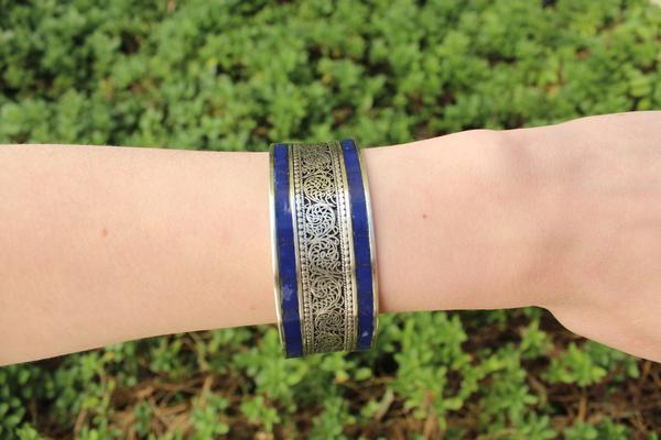 [Blue boho adjustable cuff gypsy bohemian style jewelry or jewellery]- The Namaste Boutique