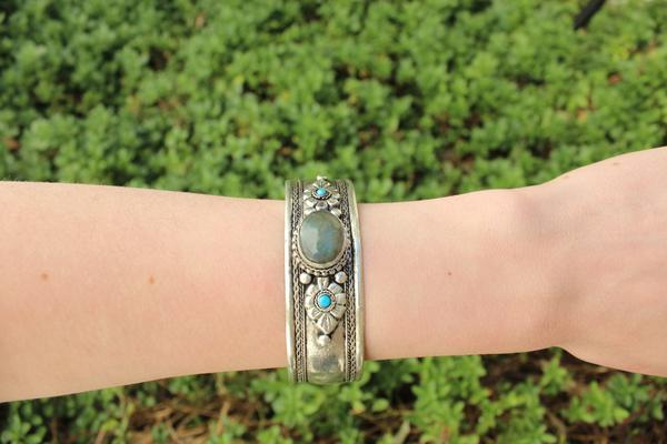 [Bohemian laborite adjustable cuff gypsy bohemian style jewelry or jewellery]- The Namaste Boutique