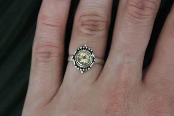 Sterling silver golden topaz gemstone ring