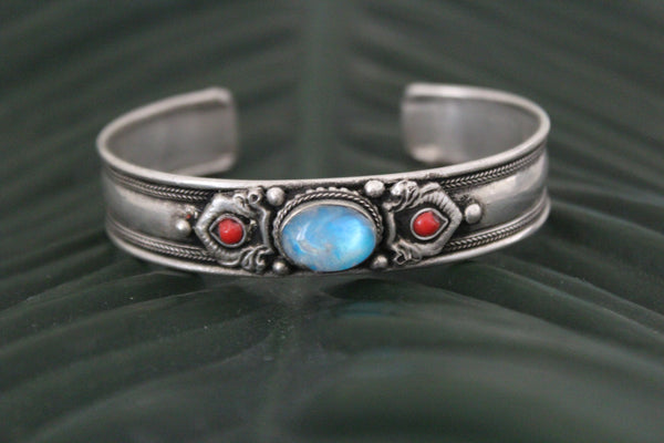Blue moonstone metal stone adjustable cuff