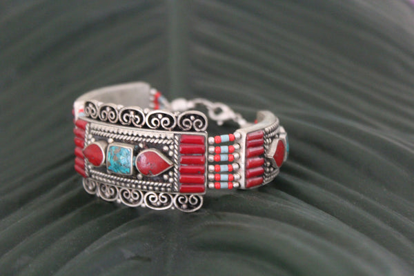 Tribal turquoise & coral bracelet