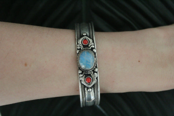 Moonstone metal stone adjustable cuff