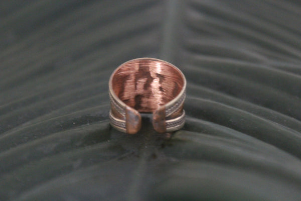 Copper & brass mantra adjustable ring