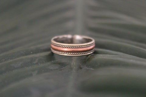 Copper & brass thin adjustable ring