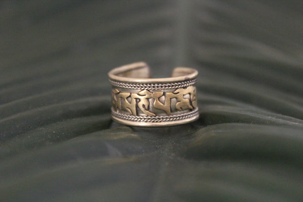 Metal & brass mantra adjustable ring