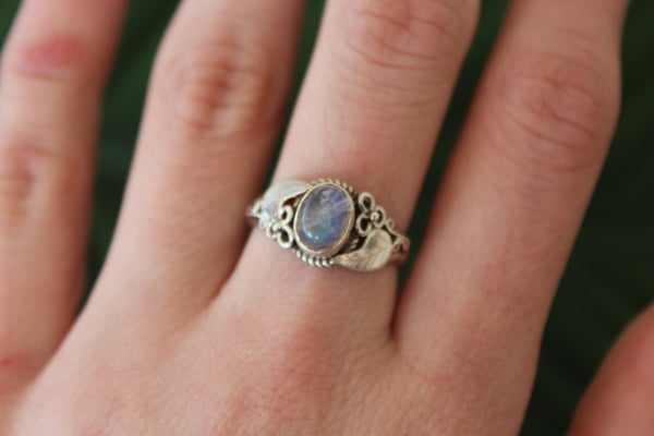Sterling silver rainbow moonstone gemstone ring