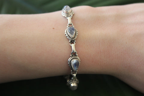Sterling silver rainbow moonstone gemstone bracelet