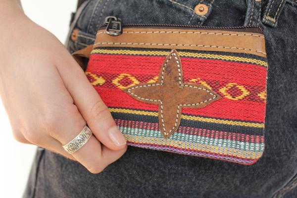 [Cotton gyspy leather trim purse gypsy bohemian style purse or wallet]- The Namaste Boutique