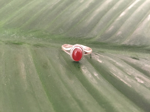 Sterling silver red onyx gemstone ring