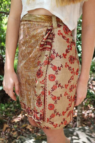 [Recycled silk wrap skirt gypsy bohemian style clothing]- The Namaste Boutique