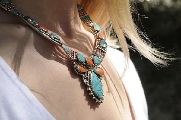 [Handmade bohemian style turquoise and coral necklace gypsy bohemian style jewelry or jewellery]- The Namaste Boutique