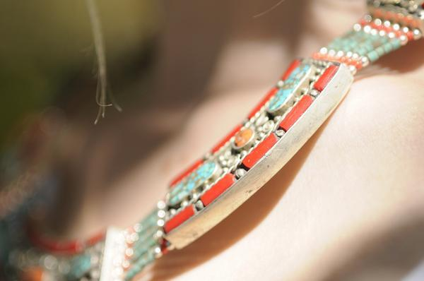 [Handmade bohemian style turquoise, coral and lapis lazuli  necklace gypsy bohemian style jewelry or jewellery]- The Namaste Boutique