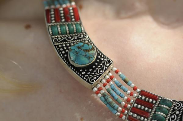 [Handmade bohemian style turquoise necklace gypsy bohemian style jewelry or jewellery]- The Namaste Boutique