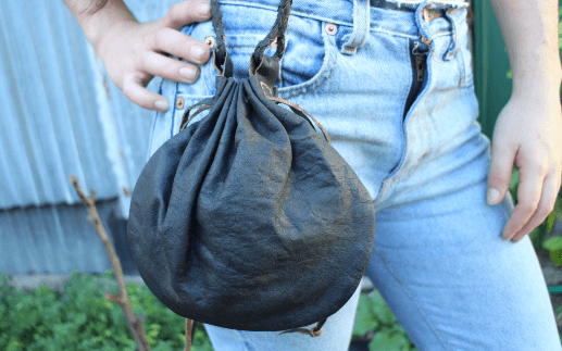 [Black leather drawstring gypsy bag gypsy bohemian style handbag or bag]- The Namaste Boutique
