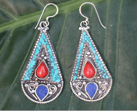 [Handmade bohemian drop style, turquoise, coral & lapis lazuli earrings gypsy bohemian style jewelry or jewellery]- The Namaste Boutique