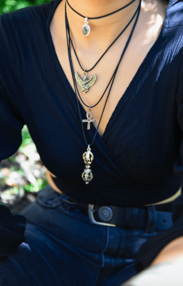 [Brass nepali pendant with black string gypsy bohemian style jewelry or jewellery]- The Namaste Boutique