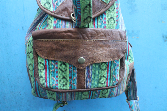 [Cotton backpack with leather trim gypsy bohemian backpack or bag]- The Namaste Boutique