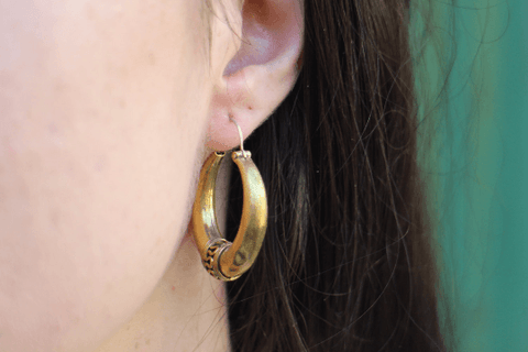 [Brass hoop earrings gypsy bohemian style jewelry or jewellery]- The Namaste Boutique
