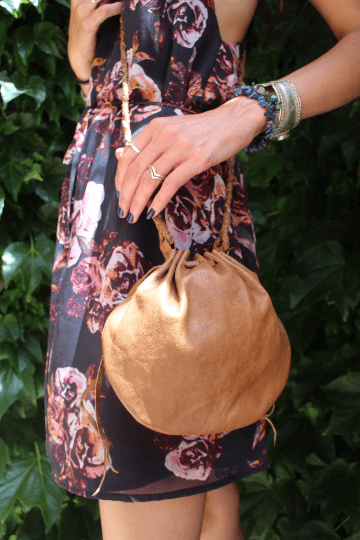 [Leather drawstring gypsy bag gypsy bohemian style bag or handbag]- The Namaste Boutique