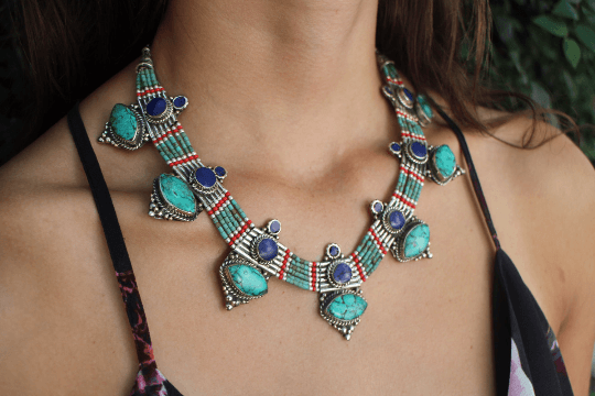 [Handmade bohemian style turquoise & lapis lazuli necklace gypsy bohemian style jewelry or jewellery]- The Namaste Boutique