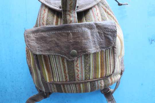 [Cotton backpack with leather trim gypsy bohemian style backpack or bag]- The Namaste Boutique