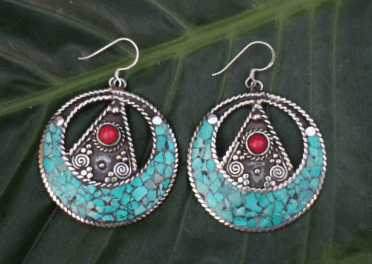 [Handmade bohemian drop style, turquoise & coral earrings gypsy bohemian style jewelry or jewellery]- The Namaste Boutique