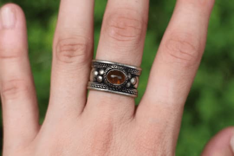 [Gypsy bohemian style jewelry or jewellery Amber adjustable gypsy ring]- The Namaste Boutique