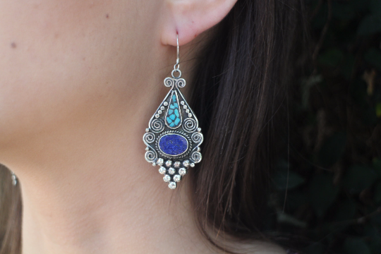 [Handmade bohemian drop style, turquoise & lapis lazuli earrings gypsy bohemian style jewelry or jewellery]- The Namaste Boutique