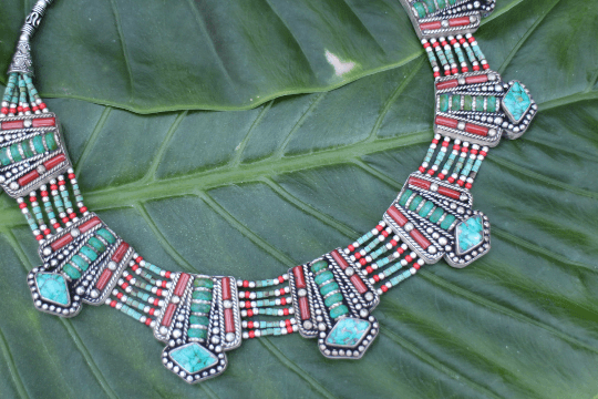 [Handmade bohemian turquoise necklace gypsy bohemian style jewelry or jewellery]- The Namaste Boutique