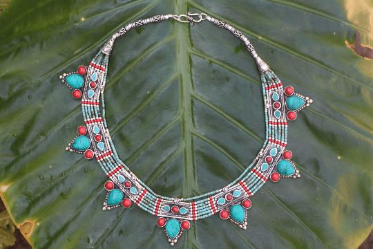 [Handmade tibetan style turquoise & coral necklace gypsy bohemian style jewelry or jewellery]- The Namaste Boutique
