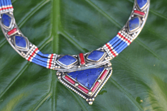 [Handmade tibetan style lapis lazuli & coral necklace gypsy bohemian style jewelry or jewellery]- The Namaste Boutique
