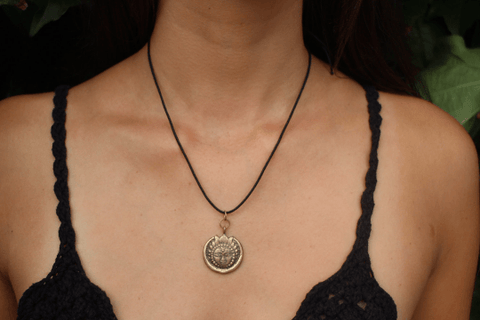 [Brass sun pendant with black string gypsy bohemian style jewelry or jewellery]- The Namaste Boutique