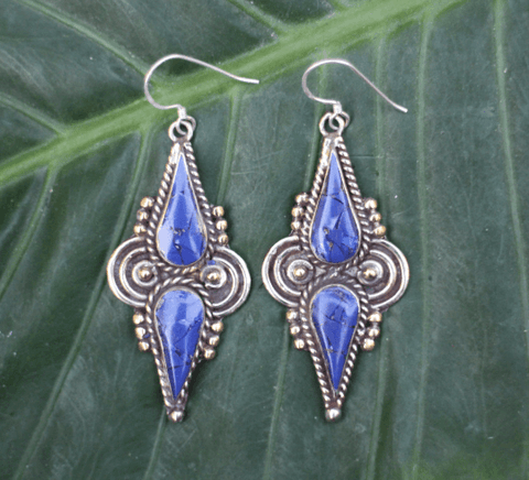 [Handmade bohemian drop style, lapis lazuli earrings gypsy bohemian style jewelry or jewellery]- The Namaste Boutique