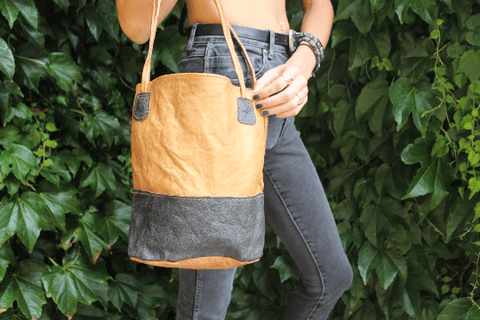 [Black and brown leather bucket bag Gypsy bohemian style handbag or bag]- The Namaste Boutique
