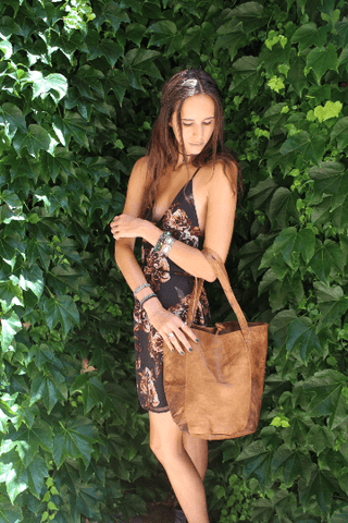 [Leather bag gypsy bohemian style handbag or bag]- The Namaste Boutique