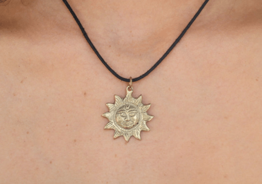 [Brass round sun pendant with black string gypsy bohemian style jewelry or jewellery]- The Namaste Boutique