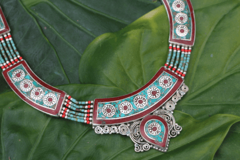 [Handmade gyspy style turquoise & coral necklace gypsy bohemian style jewelry or jewellery]- The Namaste Boutique