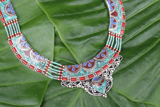 [Handmade tibetan style turquoise, lapis lazuli & coral necklace gypsy bohemian style jewelry or jewellery]- The Namaste Boutique