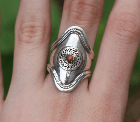 [Large sterling silver coral gemstone ring Gypsy bohemian style jewelry or jewellery]- The Namaste Boutique