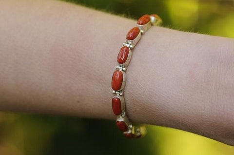 [Sterling silver coral gemstone bracelet boho gypsy hippie gypsyjewelry]- The Namaste Boutique