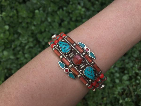 [Tribal turquoise & coral bracelet gypsy bohemian style jewelry or jewellery]- The Namaste Boutique