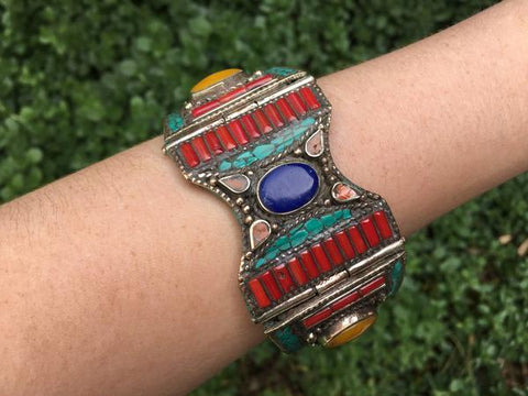 [Tibetan handmade metal cuff gypsy bohemian style jewelry or jewellery]- The Namaste Boutique