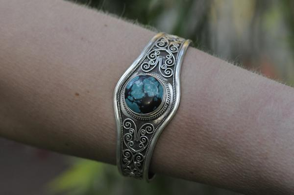 [Sterling silver turquoise gemstone filigree cuff boho gypsy hippie gypsyjewelry]- The Namaste Boutique