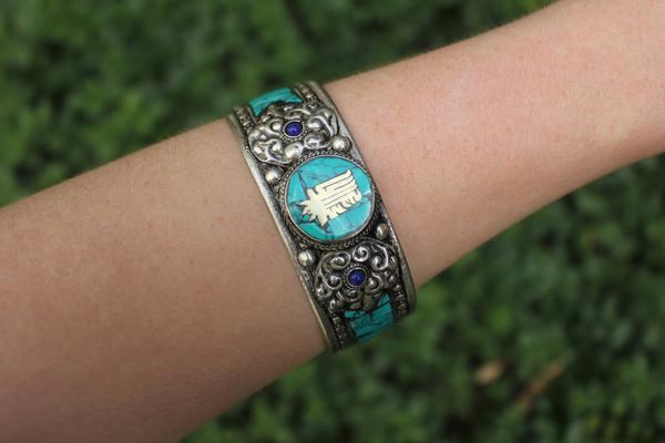 [Metal mantra stone adjustable cuff gypsy bohemian style jewelry or jewellery]- The Namaste Boutique