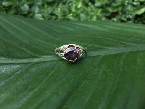 [Sterling silver amethyst gemstone ring bohemian gypsy boho]- The Namaste Boutique