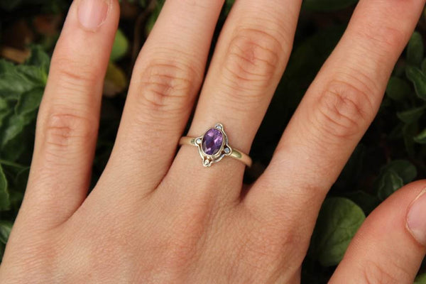[Sterling silver amethyst gemstone ring bohemian boho gypsy jewellery jewelery hippie]- The Namaste Boutique