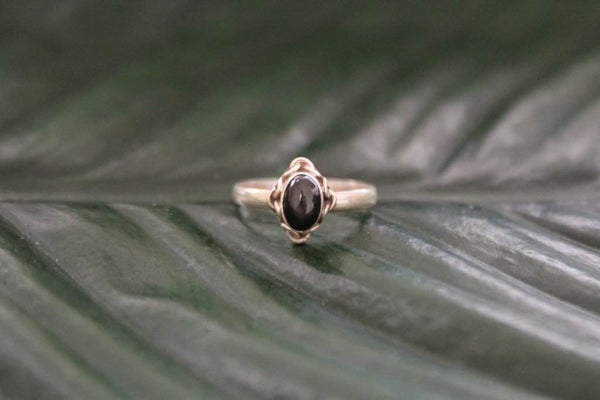 [Sterling silver black onyx gemstone ring bohemian boho gypsy jewellery jewelery hippie]- The Namaste Boutique